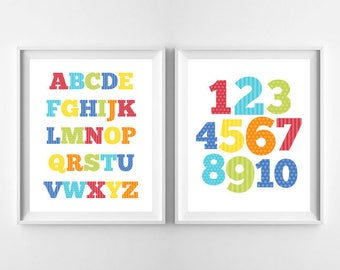 Alphabet Print & Numbers Art Print, Nursery Decor, Children Wall Art Decor, TWO Alphabet and Numbers, ABC Digital Instant Download 8x10""