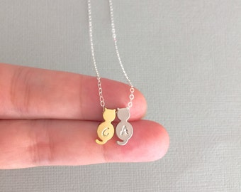 Mixed Cat Necklace, Sterling Silver, Gold Fill, Silver/ Gold Cat, Initial Necklace, Personalised, Cat Lover, Gift To Her, Simple Small Cat