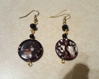 Beautiful Brown Spotted Shell Earrings