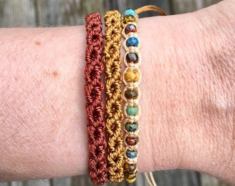 SALE Micro-Macrame Adjustable Bracelet Stack - Golden Brown and Picasso