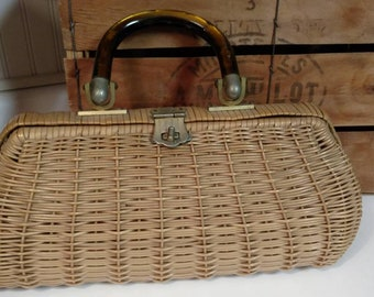 Vintage Coated Wicker Handbag Purse