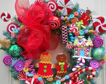 Gingerbread Wreath,Gingerbread Decor,Wreath,Christmas Wreath,Door Wreath,Wreath for Door,Designer Wreath,SOLD,Order BEFORE 11/23/17