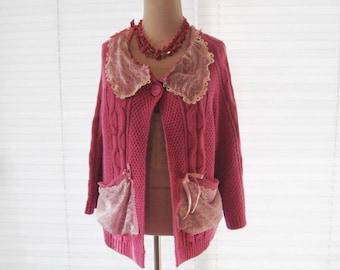 Dark pink lace cardigan, upcycled sweater, refashioned clothing, cable knit romantic cardigan, medium to large, boho, gypsy glam