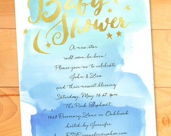 Stars and Moon Baby Shower Invitation, Faux Gold Baby Shower Invite, Watercolor Baby Shower Invitation,Boy,Gold,Custom, Script, Calligraphy