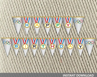 Pennant Banner - Go For the Gold-Olympic-Red White Blue - Medal - Summer -Games- Happy Birthday - Instant Download - DIY Digital Decorations