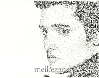 ORIGINAL Elvis Presley pointillism - size A4