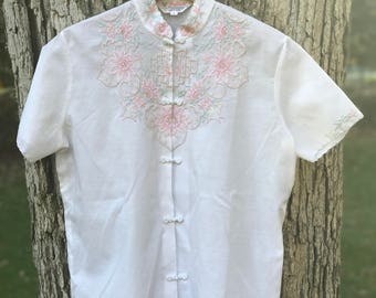 hand embroidered cotton short sleeved blouse