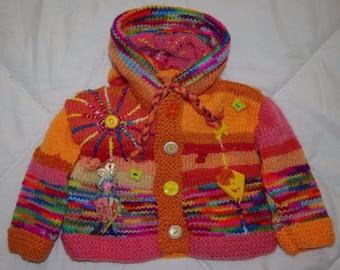 VEST 6 months original knitted Pixie hood
