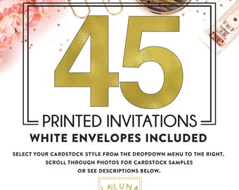 Set of 45 printed invitations / cards