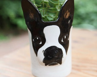 Boston Terrier Planter in Stoneware