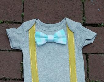 Baby Bowtie Onesie with Suspenders