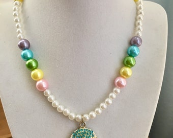 Easter Pastel Pearl Necklace with Pastel Rhinestone Easter Egg Pendent