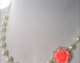 Coral necklace Bridesmaids Jewelry Asymmetrical Flower Necklace wedding Jewelry Coral Pink flower w Ivory pearls necklace