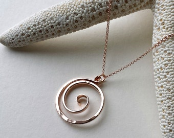 Koru Necklace, Maori Necklace, Ring Holder Necklace, Tribal Necklace, Koru Pendant in Rose Gold, Sterling Silver, or Gold Filled