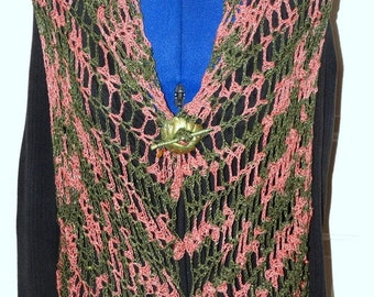 ON SALE Split Rock Ranch Original Design OOAK Rose Garden Hand Crocheted Silk Sweater Vest in Mossy Green/Rose Shawl Wrap Cardigan
