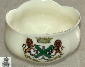 Antique Edwardian Arcadian China - Arkinstall and Sons (Ltd) - Crested China Plymouth crest ware Pot c1900's (ref: 4004)