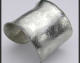 EGYPTIAN CUFF - Handforged Hammered Wide Pewter Cuff Bracelet