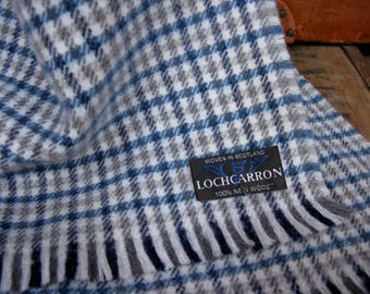 Lochcarron Scarf, Wool Scarf, Checked Scarf, Vintage Scarf, Pure Wool Scarf, Plaid Scarf, Scottish Scarf, Made In Scotland, Blue Check