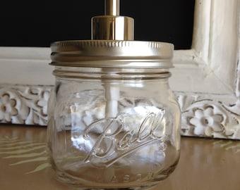 Clear Square Ball Mason Jar Soap Dispenser