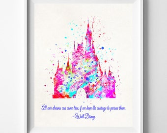 Disney Castle Art, Disney Castle, Disney Castle Poster, Watercolor Art, Baby Room Poster, Nursery Art, Watercolour Art, Mothers Day Gift