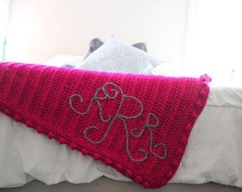 Monogrammed Afghan/ Monogrammed Blanket/ Crocheted Afghan/ Monogrammed/ Personalized Item