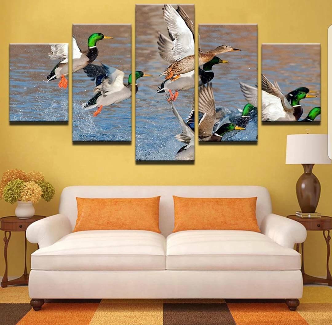 Mallard Ducks Flying From Lake 5 Panel Canvas