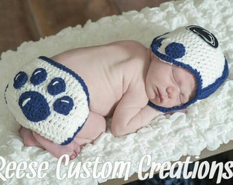 Crochet Penn State University Football inspired colors Newborn Baby Boy Photo Prop Outfit-  Nittany Lions football. 1-2 Week Lead Time