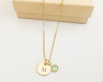 Gold Birthstone Necklace for Women - Initial Necklace - Birthstone Necklace - Bridesmaid Gift from Bride - Birthstone Initial Necklace