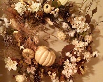 Extra Large Designer Fall White Pumpkins Farmhouse Rustic Natural Colors Wreath