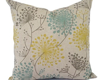 Brown Yellow and Blue Decorative Pillow Covers - Two Dandelion Throw Pillow Covers - Yellow Pillow - Spa Blue Pillow - Brown Pillow Sham