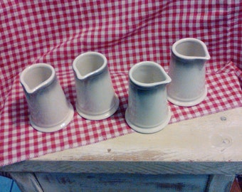 1-Lot of 4 Homer Laughlin Creamer Containers or Flavored Syrup Containers   Quality pottery from H. Laughlin made in the USA