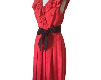 Vintage Retro 1970's Red Taffeta Dress Fill Neck Collar Spanish Style Black Belt Tie