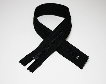 Zip closure, 35 cm, black, not separable