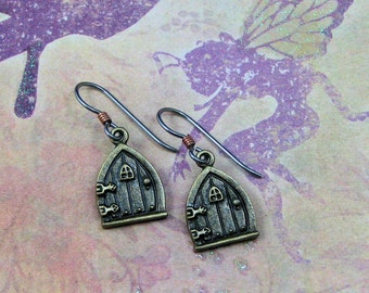 Antiqued Gold Fairy Door Earrings on Hypoallergenic Ear Wires, Fantasy Jewelry, Gift for Her, Fairy Jewelry, Fairy Door Charms