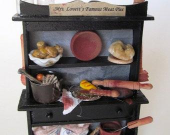 Sweeney Todd Mrs.Lovett's Meat Pie Cupboard Mrs.Lovett's Famous Meat Pie Cabinet Free Shipping!