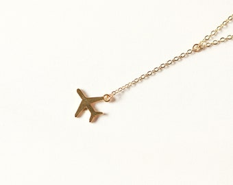 Gold Airplane Adjustable Necklace for Travel Lovers