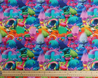 9912 4 Licensed Print- Multicolour Trolls- Poppy and Friends on Cotton Stretch Jersey Dressmaking Fabric