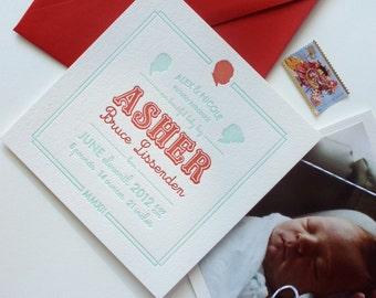 SAMPLE - Letterpress Birth Announcement