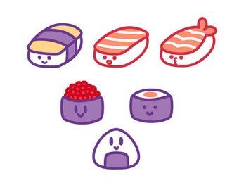 Sushi Sticker Set, Choose from 6 Designs or Pick Whole Set // 200GSM Acid Free