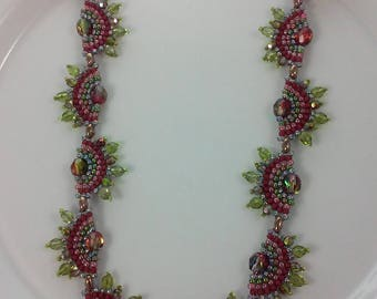 Seed Bead Necklace (beadweaving - iridescent variegated red/green fire polished ; rose pink, cranberry, olive green seed beads