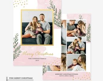Christmas Card Template for photographers PSD Flat card - Christmas Card - Photoshop Template - CD058