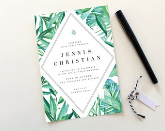 Botanical Wedding Invitations | Tropical Wedding Invitation, Destination Wedding, Exotic Wedding, Leaves, Botanicals, Leaves, Greenery