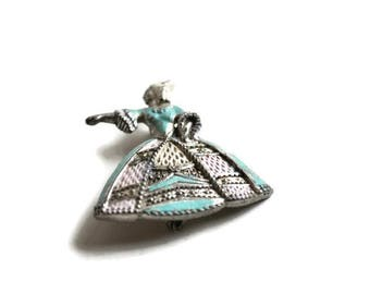 Vintage Victoria Lady Brooch // White Metal and Enamel 1940's Brooch with Blue Detail.