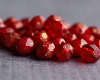 Oxblood Marbled Gold Czech Glass Bead 6mm Faceted Round : 25 pc Red Gold 6mm Bead