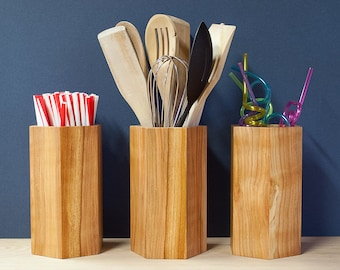 Spalted Cherry Utensil Pot - Utensil Holder - Utensil Jar