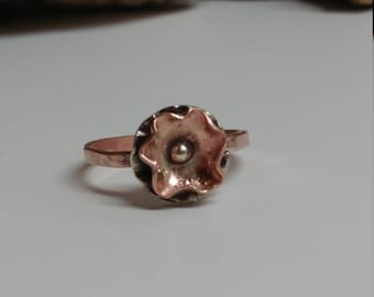 Copper flower rings, mixed metal rings, silver and copper rings
