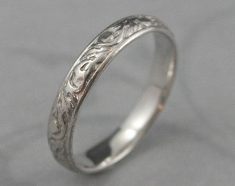 White Gold Wedding Band--Going Baroque Ring--Vintage Style Band--Women's Wedding Ring-Cast Ring-Vine Band--Leaf Ring-Scrollwork Ring
