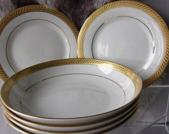 Fairmont China Rare 12 x Piece Dinner Set, Linton Gold Design, White Fine China with 22 x ct Gold, Superb Dinner Service, Vintage Dining Set