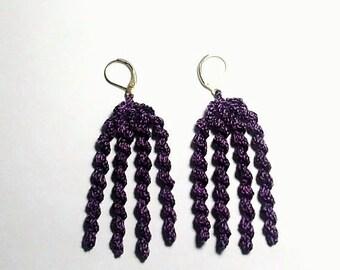 Crochet 4 Spiral Purple  Earrings