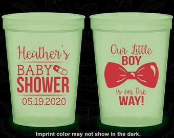 Our Little Boy is on the way, Glow in the Dark Baby Shower Cups, Glow Baby Shower Party, It's a Boy (90005)